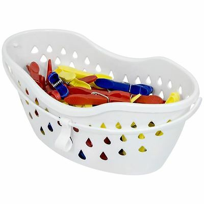 Large Peg Basket With 50 Plastic Clothes Pegs Handy Storage Clothes Line Bucket