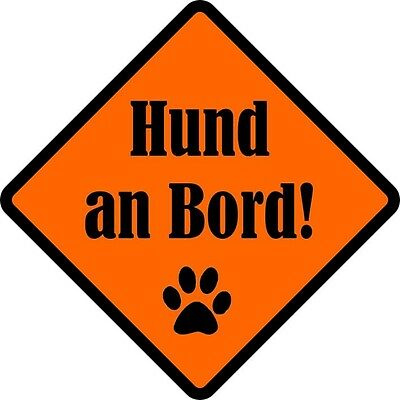 Autoaufkleber - Hund an Bord - wetterfester Sticker - orange