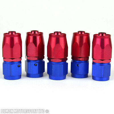 AN6 -6 6AN Straight Hose Fitting (5 Pack) JIC For Braided Hose Red / Blue New