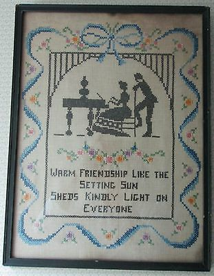 Vintage Cross Stitch Silhouette Sampler Friendship Folk Art Framed c1927-1939