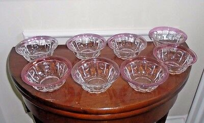 Antique Inverted Coin Dot Cranberry Flash Sherbet/Fruit Cups
