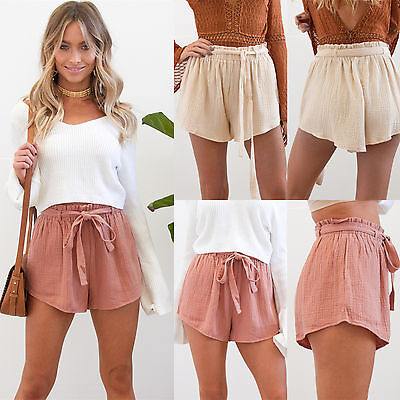 UK Womens Holiday Belted High Waist Casual Ladies Summer Beach Hot Pants Shorts