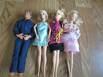Barbie Dolls Ken Doll Lot Of 4 Mattel With Clothes