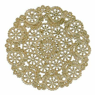 New Royal Lace Round Foil Doilies Gold 10Inch Pack Of 8 For Art Craft Or Wedding