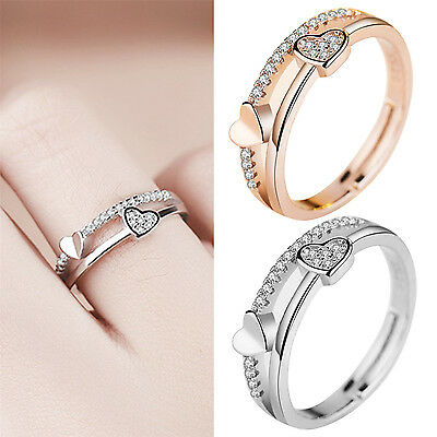 Newly Engagement Jewelry Silver Plated Adjustable Rings Crystal Heart Shaped New