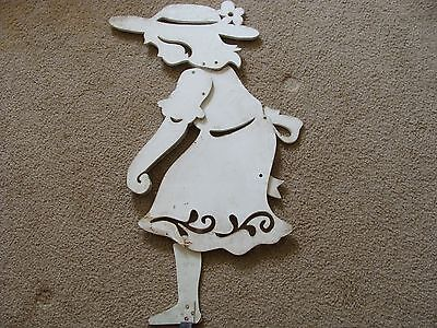 Vintage wood cut out display garden art Yard Figure Girl Gardening Dick & Jane