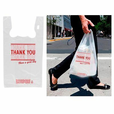 400 Thank You Retail Plastic Bags Recyclable Grocery Bag Supermarket Shopping