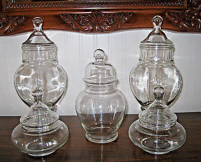 5 Glass Apothecary Display Storage Jars Lot set