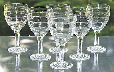 Anchor Hocking Block Optic Lot of 6 Footed Wine Goblets Glasses 3oz Crystal