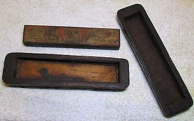 Antique Escher & Son Germany Razor Sharpening Water Hone Stone Carved Wood Box