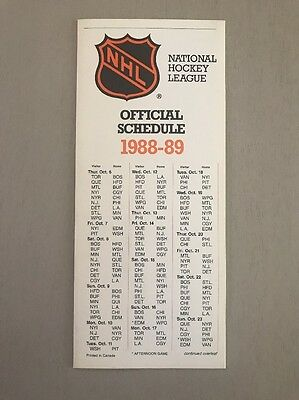 1988-89 Nhl Pocket Schedule