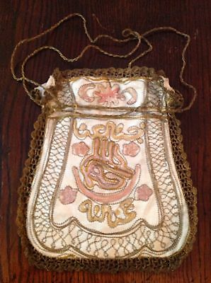 Antique gold thread antique 19thC gold metal thread embroidered purse bag