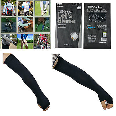 1 Pair New Seamless Black Cooling Arm Sleeves Cover UV Sun Protection Sports