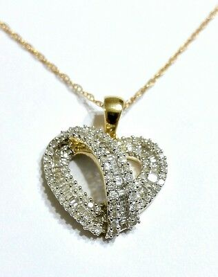 """Solid 14k Gold 1ct Diamond Heart Pendant & 18"""" Necklace"""