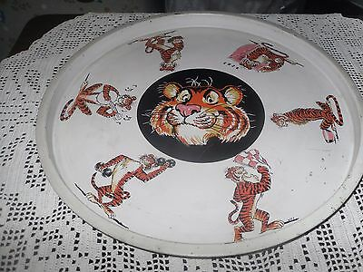 Vintage Exxon Tiger Advertising Tray Cup Holder Tin Tray Gas Station