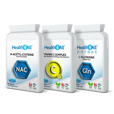 Health4All DETOX DIE-OFF SUPPORT Set: NAC, C Complex, L-Glutamine 3x60 Capsules