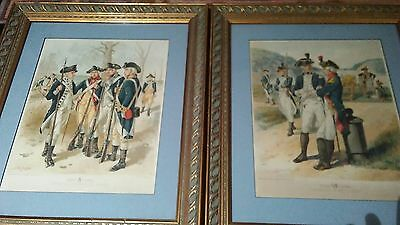 Pair Of Ogdon Continental Army Lithographs