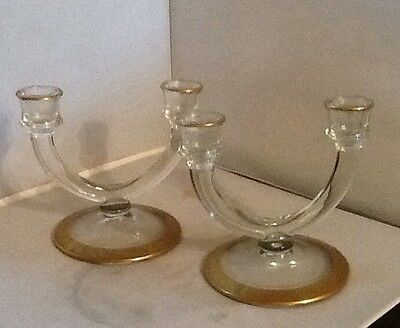 Tiffin Etched Gold Band Clear Candlesticks / Pair