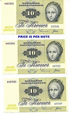 DENMARK 10 KRONER 1972 ~ P-48a ~ ONE NOTE OF 3 CONSECUTIVE CHOICE CRISP NEW