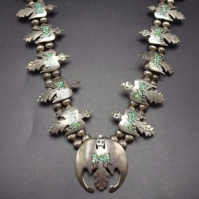 Vintage NAVAJO Sterling Silver & Turquoise Chip Inlay SQUASH BLOSSOM Necklace