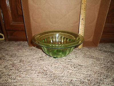 Vintage Glass Vaseline Round Ribbed Bowl Green Lot # 3