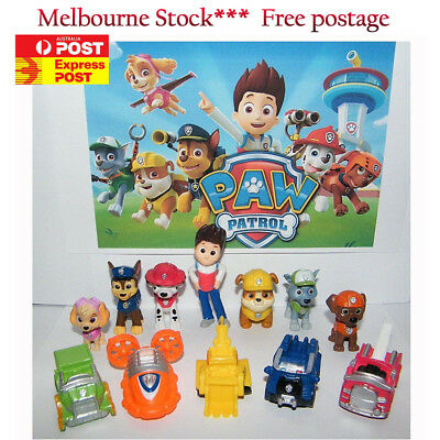 12pcs Paw Patrol Dog Puppy Rescue Character Toys Figure Figurine Cake Topper