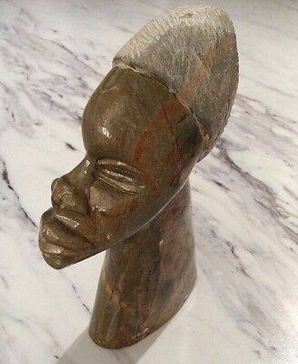 Stone African Tribal Art Green Carved Turban West Africa