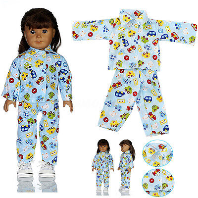 PJS Pajamas Girl Our Generation 18 inch Doll Clothes Sleepwear for American Blue