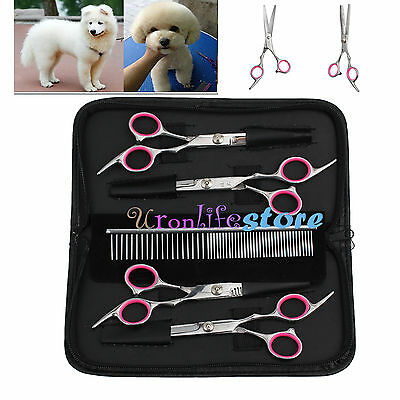 """Professional 6"""" Hair Cutting Scissors Dog Pet Grooming Kits Curved Shears Tool"""