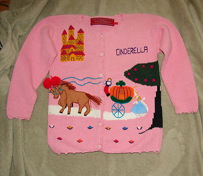 VINTAGE 1989 CHILD'S CARDIGAN SWEATER - CINDERELLA- Size Large
