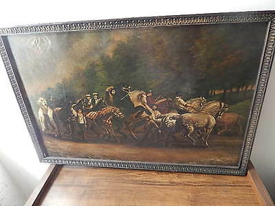 Antique Framed Signed  19Th Century Oil On Canvas Painting To Restore Intnl Sale