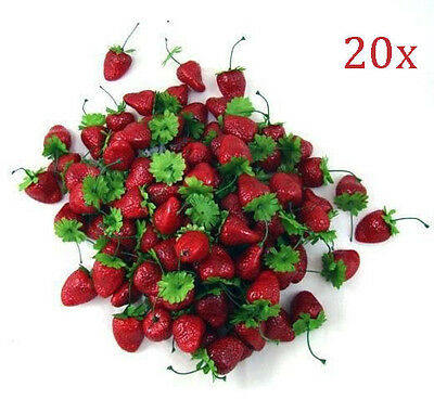 20X Artificial Strawberry Fake Fruit House kitchen wedding Party BBQ Decor Prop