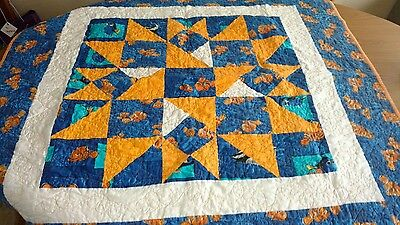 Handmade Baby - Finding Nemo and Dory - Toddler Bed / Crib Size Quilt Blanket