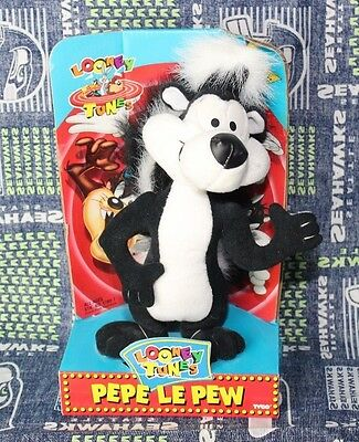 "Looney Tunes 10"" Pepe Le Pew Plush Stuffed Animal Skunk Tyco 1994 Collectible"