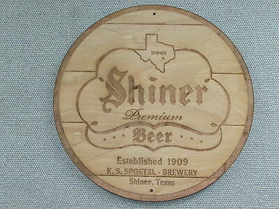"""Shiner Beer Texas 12"""" Round Wood barrel top end style wall sign"""
