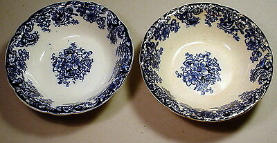 Ormonde Antique Flow Blue Soup Side Dish Bowl 6-1/4 Alfred Meakin England Lot x2