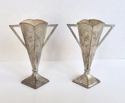 Pair Small Metal Art Nouveau Posy Vases Tin Silver Coloured Lily Tulips
