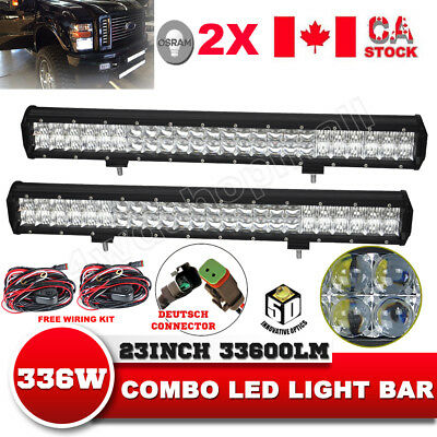 2X23''Inch 336W Osram Led Light Bar Spot Flood Offroad 4WD Driving Lamps