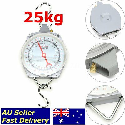 Hanging Scales 25KG Capacity Weighing Mechanical With Hook Fishing Butcher Metal