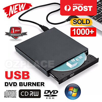 External USB 2.0 CD RW DVD ROM Drive Burner Slim Portable For MAC WIN7/8/10