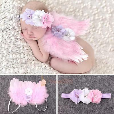 Newborn Baby Angel Feather Butterfly Wings Photo Photography Prop Girl Hairband