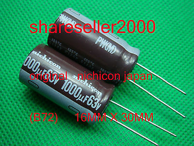 5P ORIGINAL Nichicon 1000uF 63v 125c Radial Electrolytic Capacitor NEW (B72)