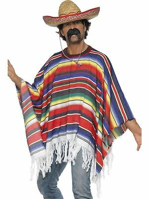 Mens Mexican Multi Poncho Wild Western Cowboy Mexico Bandit Fancy Dress Costume
