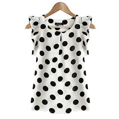 AU Women Casual Sleeveless Dots Chiffon Blouse Shirt Summer Loose T Shirt Top