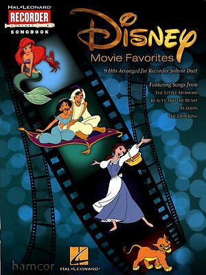 Disney Movie Favorites Recorder Solo or Duet Music Book