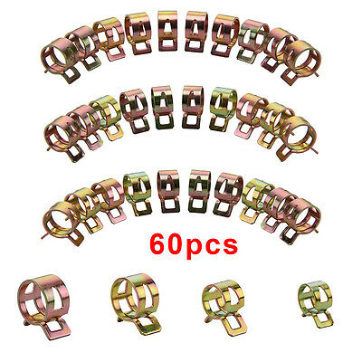 60X 6/9/10/12/14/15mm Spring Clip Fuel Line Hose Water Pipe Air Tube Clamps