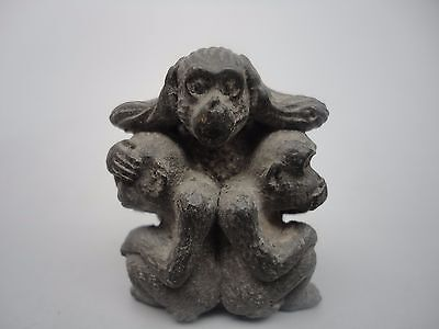 Collected Rare Ancient China Bronze Carving 3 Monkey Lovely Decoration Pendant