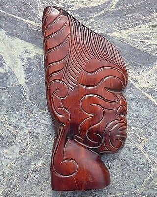 Good Heavy Oceanic New Zealand Maori Carved Wood Chief Bust Wall Mask Plaque Nr!