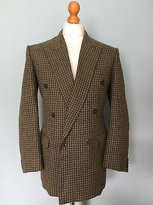 Vintage Double Breasted Houndstooth Green Wool Tweed Suit Size 40
