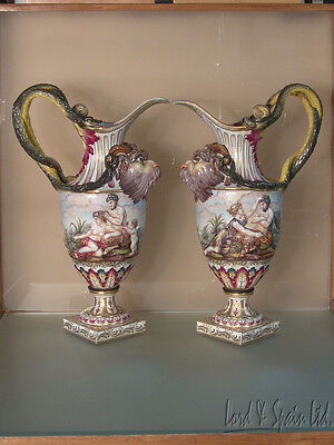 "Pair 19th C Capodimonte 16 1/2"" Figural Ewers W/Satyr & Snake Handles"